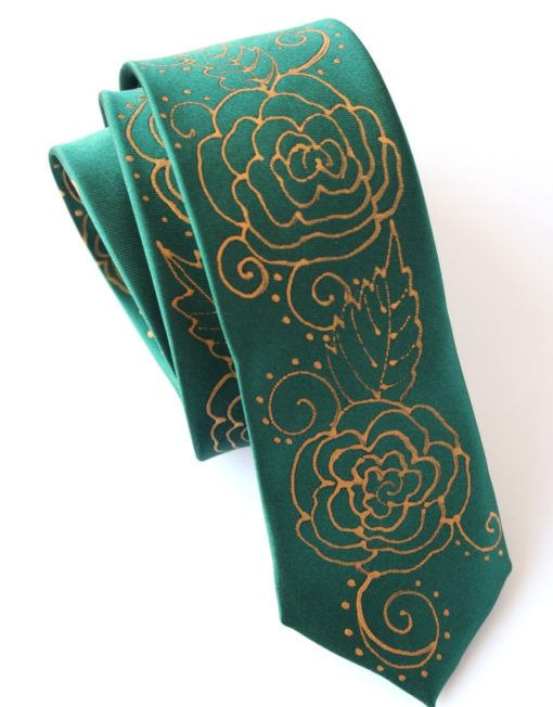 Green Tie with Roses