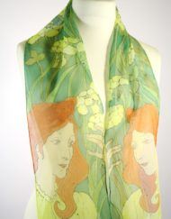 Art Nouveau Girl Silk Scarf