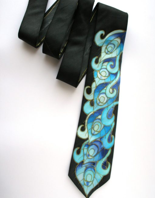 Blue Feathers Peaock tie