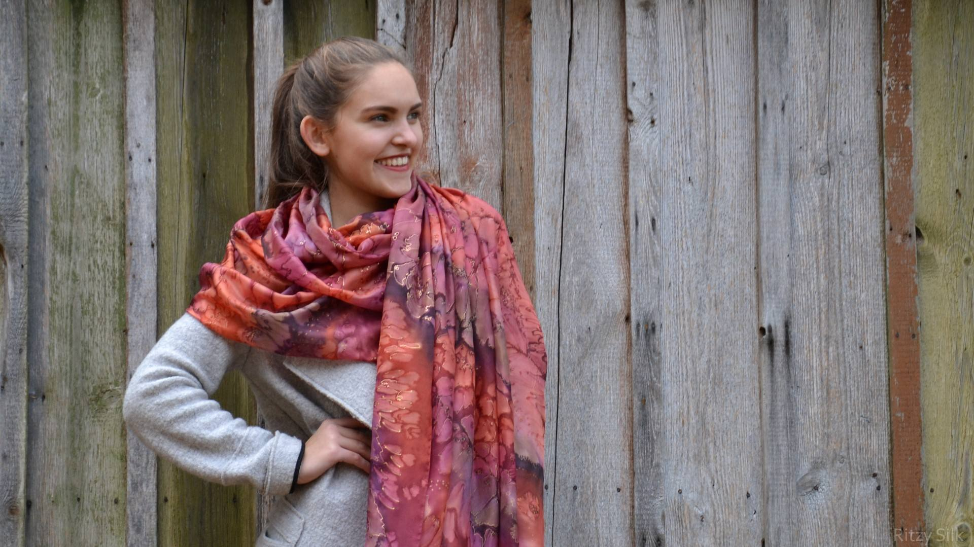 Hand Painted Rich Tones Silk Scarf - Hand dyed wrap