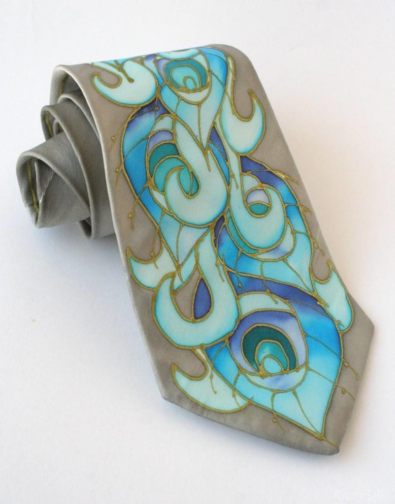 Grey Peacock Tie Ritzy Silk