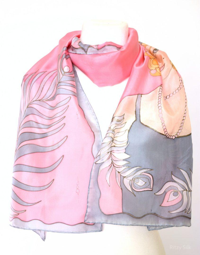 Pink Grey Flapper Scarf