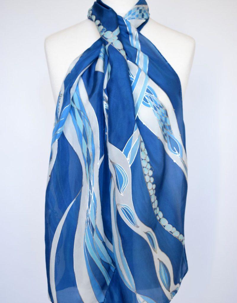 Blue Waves Silk Scarf