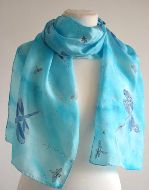 Blue Dragonfly Silk Scarf