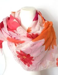 Bright Floral Silk Chiffon Wrap