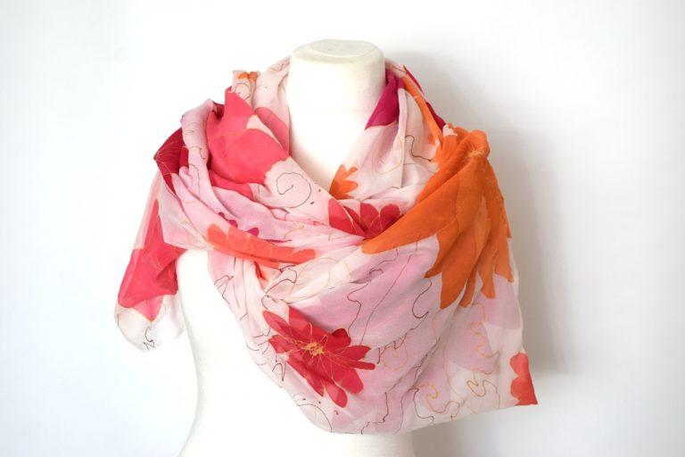 Bright Floral Silk Chiffon Wrap
