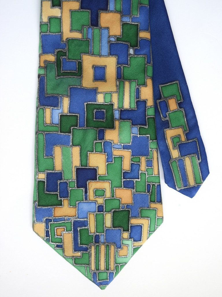 Blue Green Squares Tie