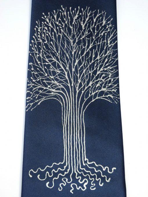 White Tree Navy Tie